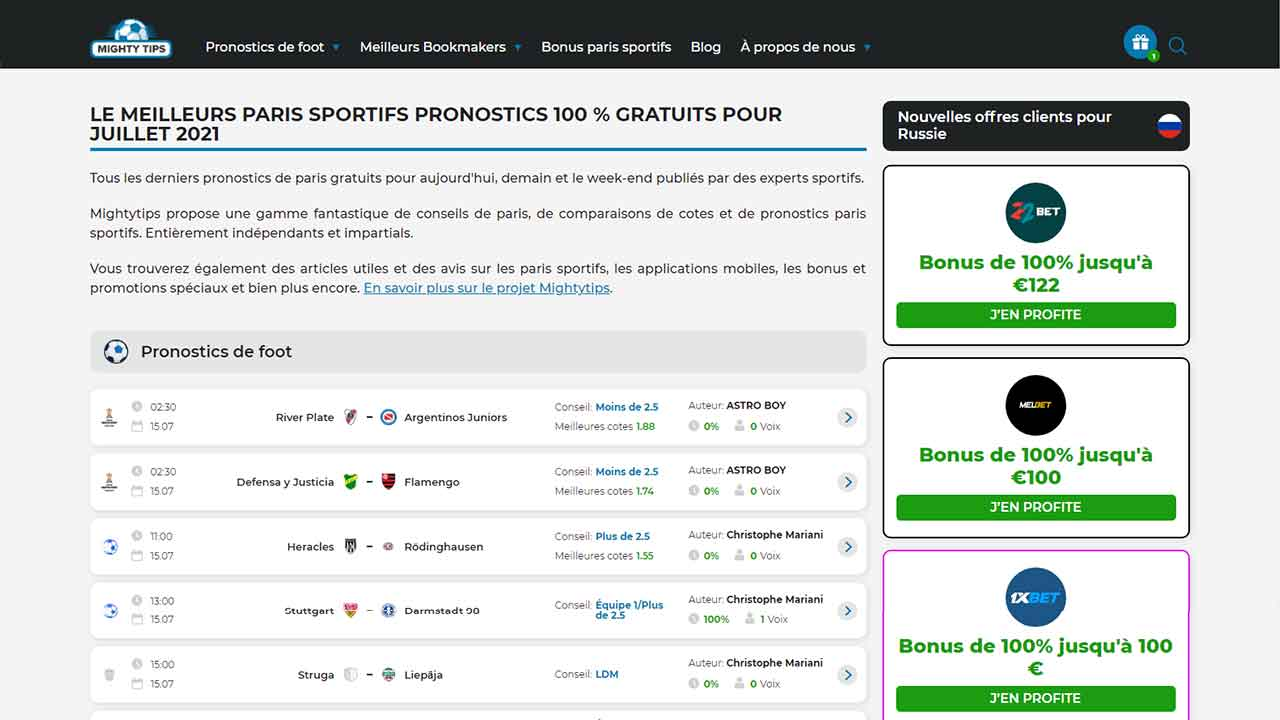 French website's main page